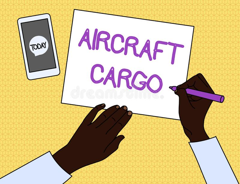 Handwriting text Aircraft Cargo. Concept meaning Freight Carrier Airmail Transport goods through airplane Top View Man. Handwriting text Aircraft Cargo royalty free illustration