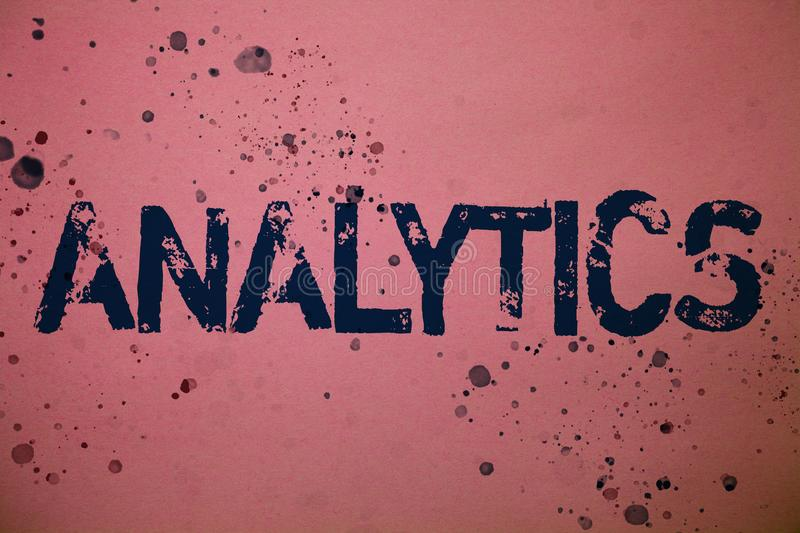 Handwriting text Analytics. Concept meaning Data Analysis Financial Information Statistics Report Dashboard Ideas messages pink ba stock illustration