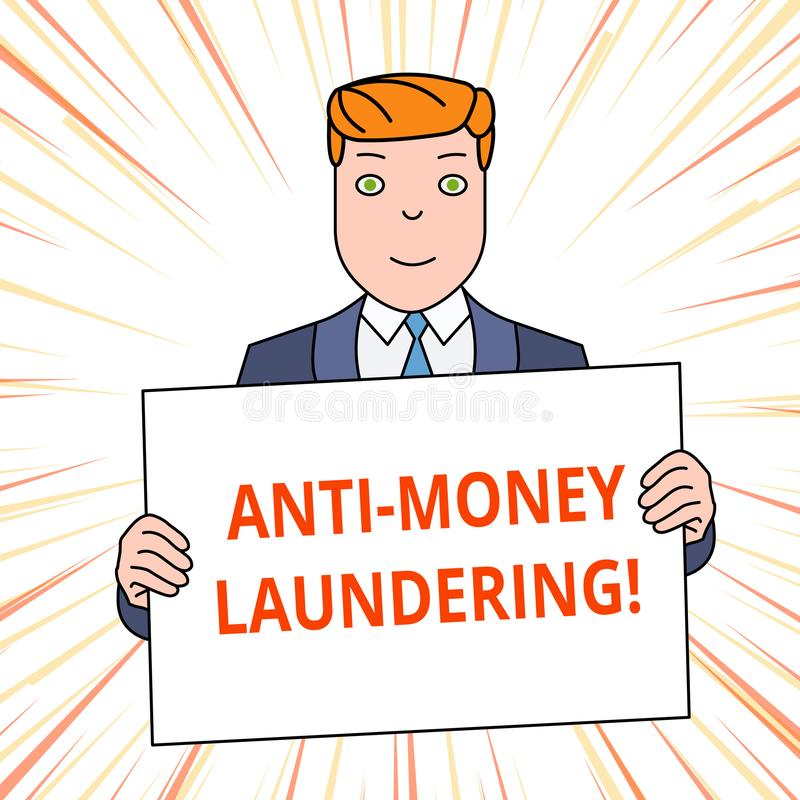 Handwriting text Anti Money Laundering. Concept meaning regulations stop generating income through illegal actions. Handwriting text Anti Money Laundering royalty free illustration
