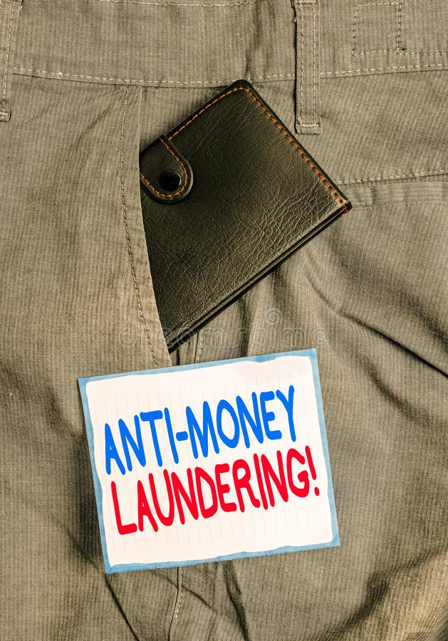 Handwriting text Anti Money Laundering. Concept meaning regulations stop generating income through illegal actions Small. Handwriting text Anti Money Laundering stock photography