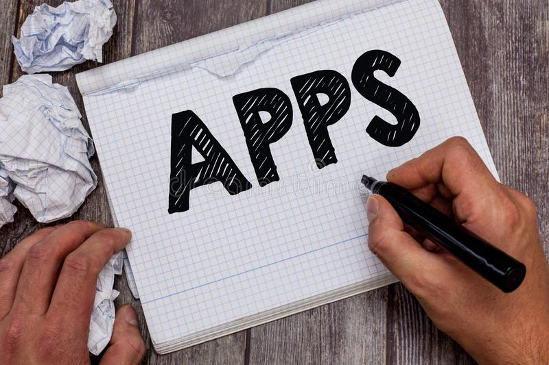 Handwriting text Apps. Concept meaning An application especially as downloaded by a user to a mobile device.  stock photos