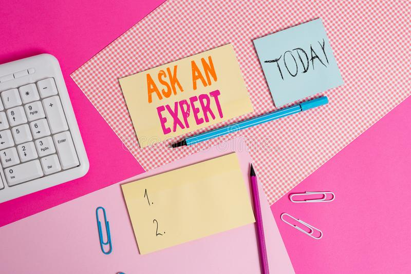 Handwriting text Ask An Expert. Concept meaning consult someone who has skill about something or knowledgeable Writing. Handwriting text Ask An Expert royalty free stock photo