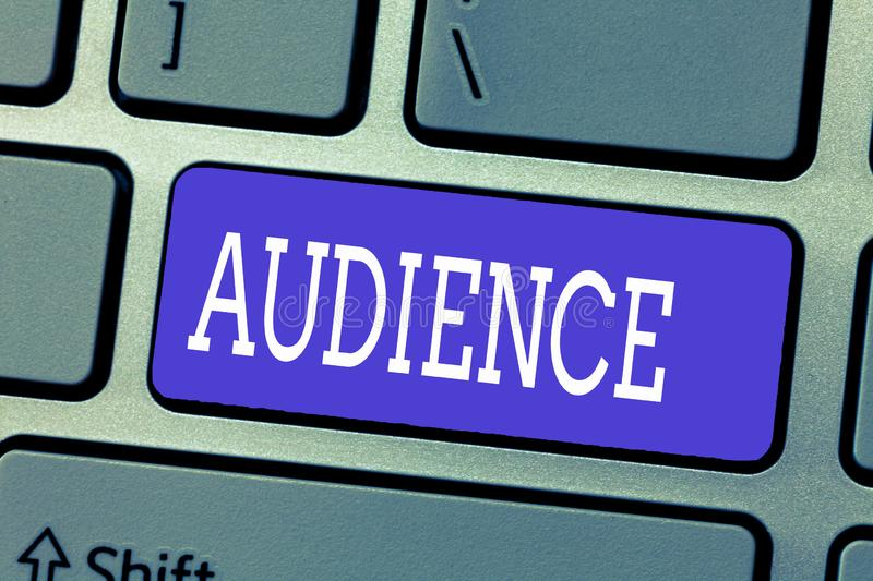 Handwriting text Audience. Concept meaning Spectators at public event Formal interview with authority.  stock photography