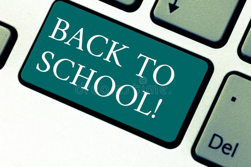 Handwriting text Back To School. Concept meaning New Teachers Friends Books Uniforms Promotion Tuition Fee Keyboard key royalty free stock photos