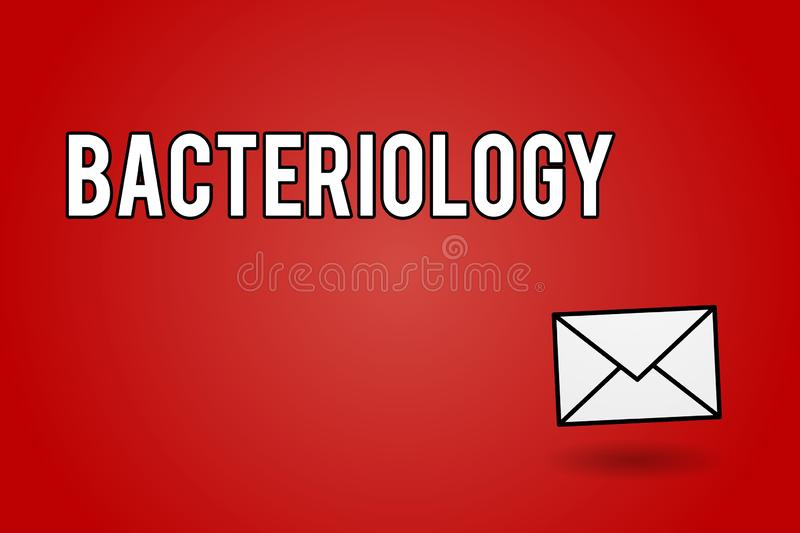 Handwriting text Bacteriology. Concept meaning Branch of microbiology dealing with bacteria and their uses.  royalty free illustration
