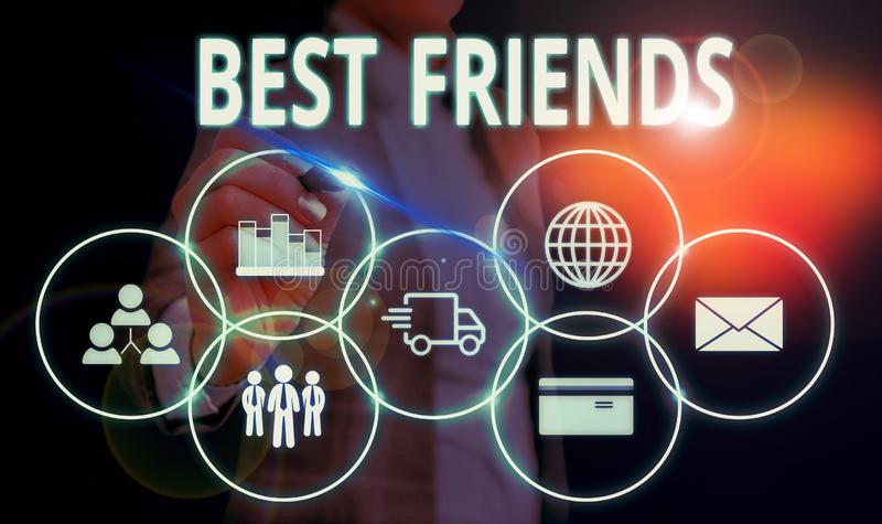 Handwriting text Best Friends. Concept meaning A demonstrating you value above other demonstratings Forever buddies stock image