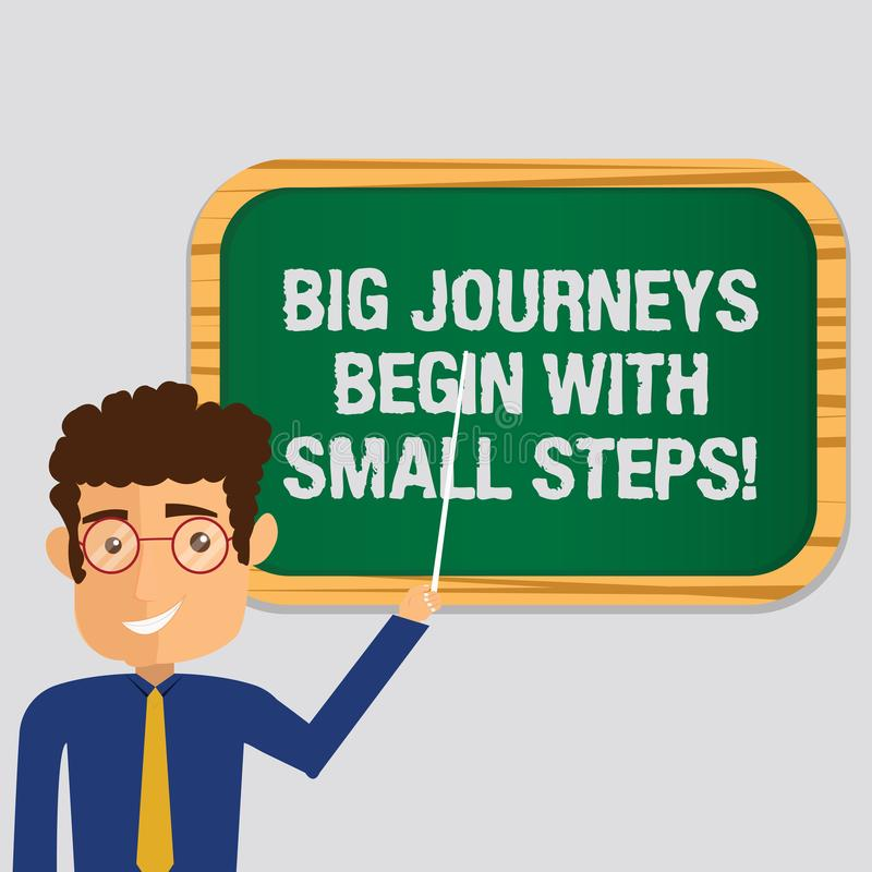 Handwriting text Big Journeys Begin With Small Steps. Concept meaning One step at a time to reach your goals Man. Standing Holding Stick Pointing to Wall vector illustration