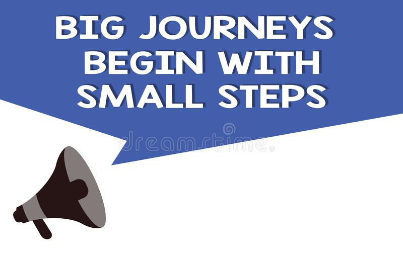 Handwriting text Big Journeys Begin With Small Steps. Concept meaning Start up a new business venture.  royalty free illustration