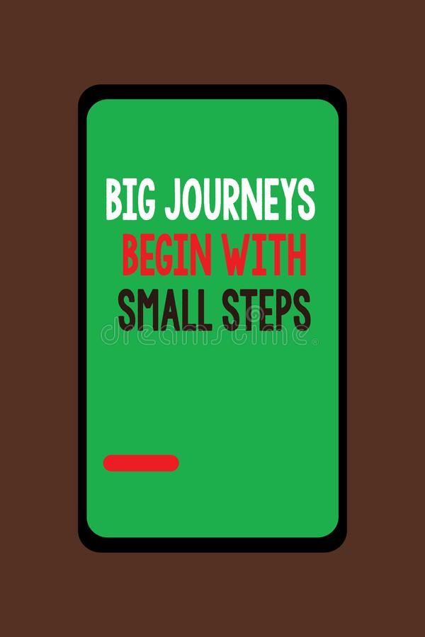 Handwriting text Big Journeys Begin With Small Steps. Concept meaning Start up a new business venture.  vector illustration