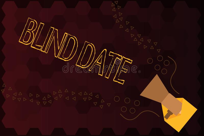 Handwriting text Blind Date. Concept meaning Social engagement with a demonstrating one has not previously met.  stock illustration