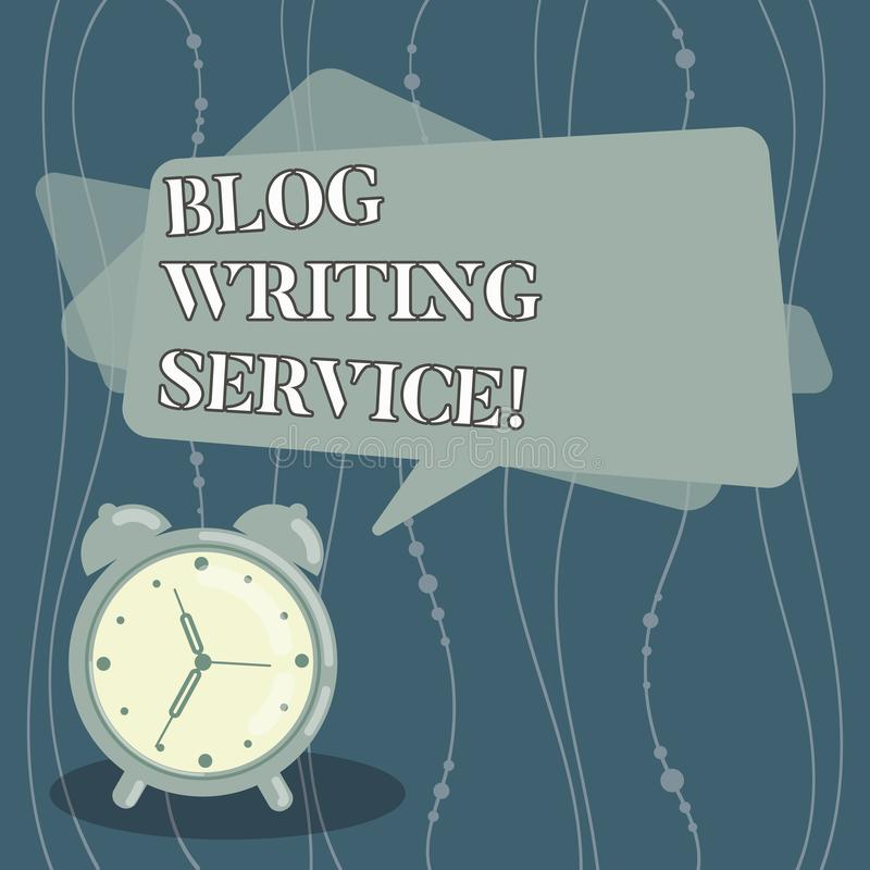 Handwriting text Blog Writing Service. Concept meaning Creates highquality blog content for a business Blank Rectangular Color. Speech Bubble Overlay and Analog royalty free illustration