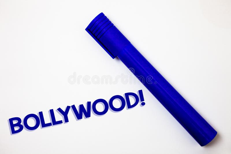 Handwriting text Bollywood Motivational Call. Concept meaning Hollywood Movie Film Entertainment Cinema Ideas messages white backg. Round blue marker feelings royalty free stock photo