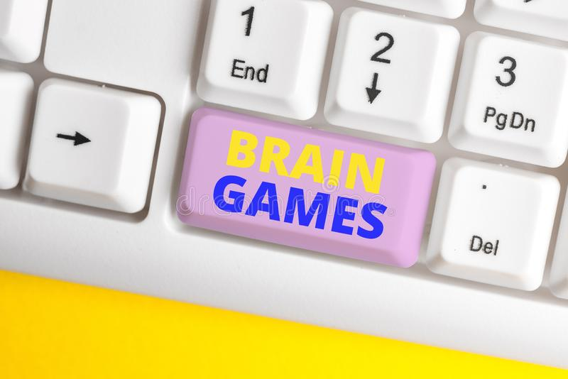 Handwriting text Brain Games. Concept meaning psychological tactic to analysisipulate or intimidate with opponent White. Handwriting text Brain Games. Conceptual stock photos