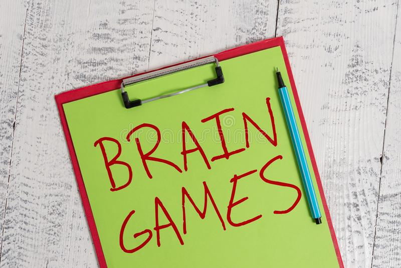 Handwriting text Brain Games. Concept meaning psychological tactic to analysisipulate or intimidate with opponent. Handwriting text Brain Games. Conceptual photo stock photography