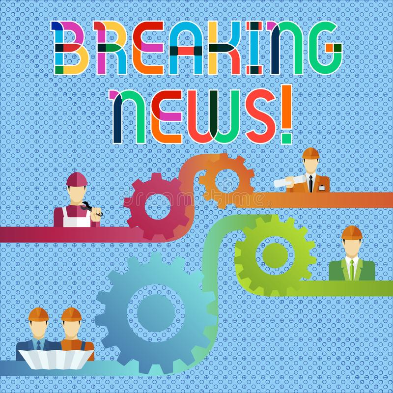 Handwriting text Breaking News. Concept meaning Newly received info about an event and currently occurring Cog Gear. Handwriting text Breaking News. Conceptual stock illustration