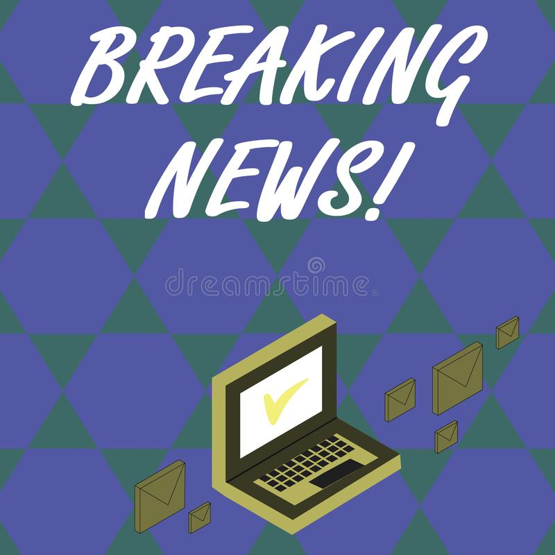 Handwriting text Breaking News. Concept meaning Newly received info about an event and currently occurring Color Mail. Handwriting text Breaking News. Conceptual vector illustration