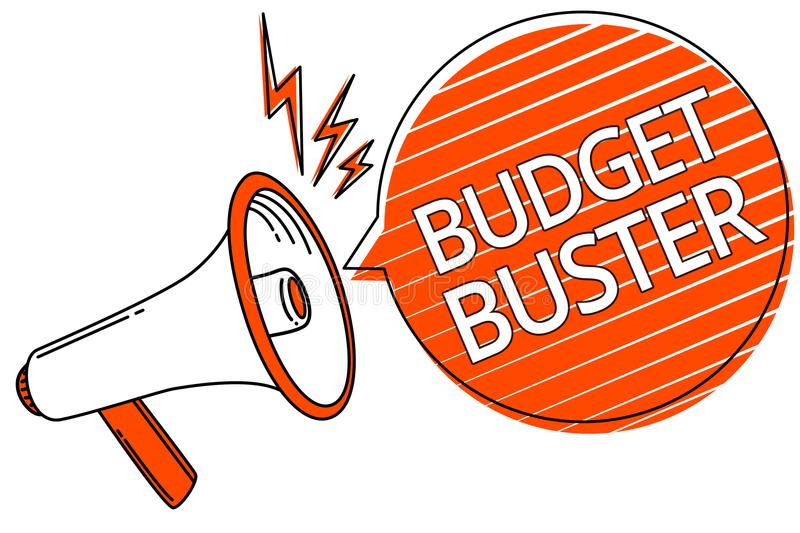 Handwriting text Budget Buster. Concept meaning Carefree Spending Bargains Unnecessary Purchases Overspending Megaphone loudspeake. R orange speech bubble royalty free illustration