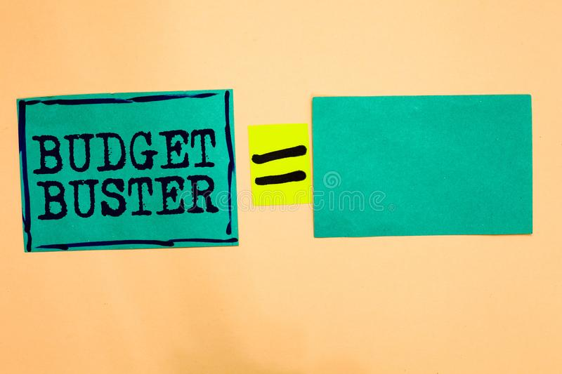 Handwriting text Budget Buster. Concept meaning Carefree Spending Bargains Unnecessary Purchases Overspending Turquoise paper note. S reminders equal sign royalty free illustration