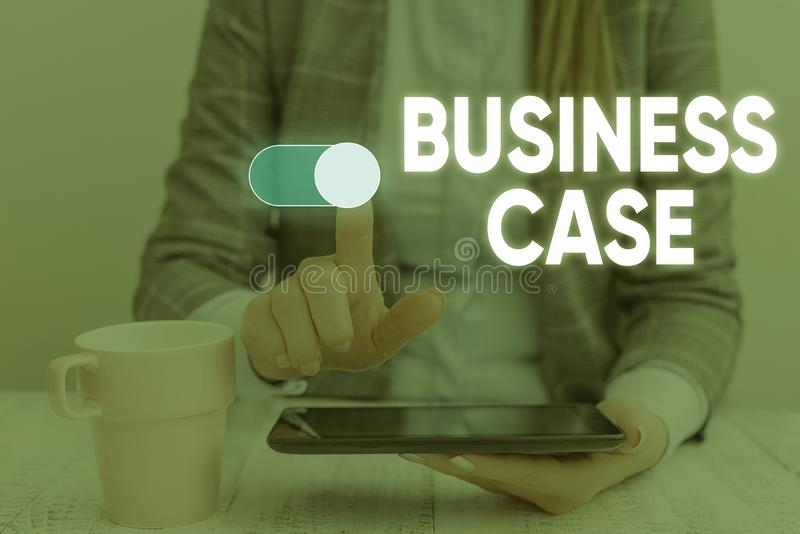 Handwriting text Business Case. Concept meaning Proposition Undertaking Verbal Presentation New Task Woman wear formal royalty free stock photo