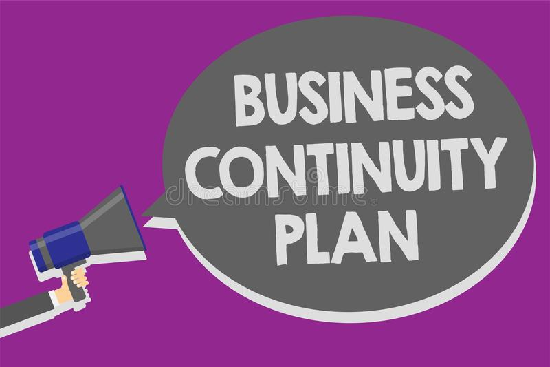 Handwriting text Business Continuity Plan. Concept meaning creating systems prevention deal potential threats Man holding megaphon. E loudspeaker speech bubble royalty free illustration