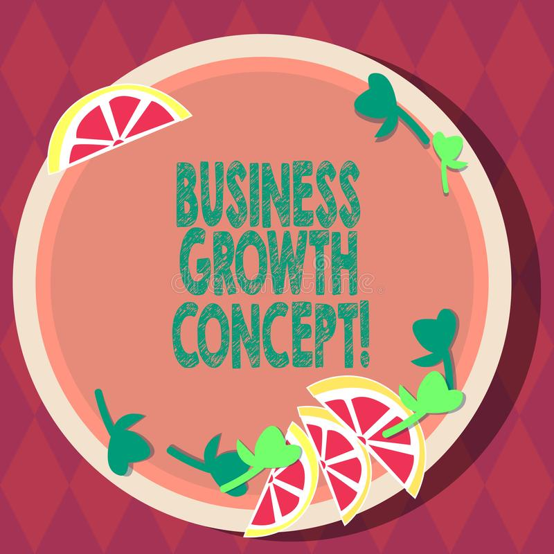 Handwriting text Business Growth Concept. Concept meaning process of improving some measure of success Cutouts of Sliced. Lime Wedge and Herb Leaves on Blank stock illustration