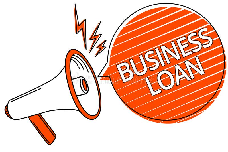 Handwriting text Business Loan. Concept meaning Credit Mortgage Financial Assistance Cash Advances Debt Megaphone loudspeaker oran. Ge speech bubble stripes vector illustration