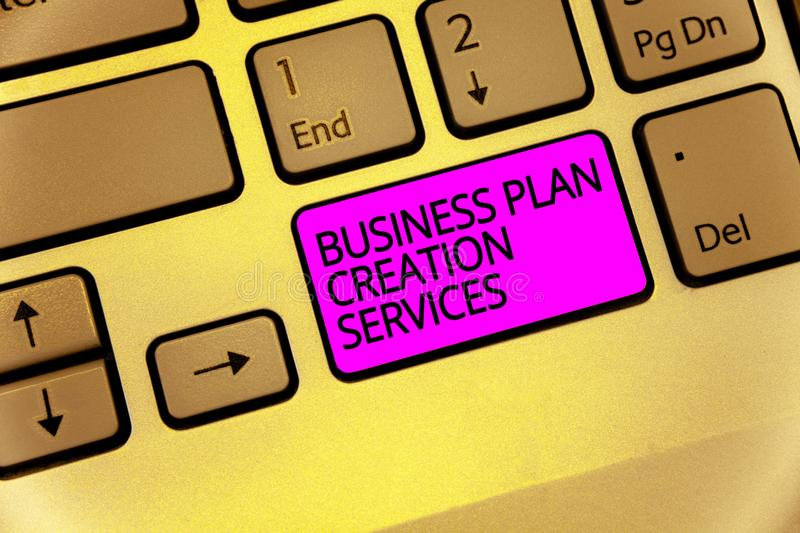 Handwriting text Business Plan Creation Services. Concept meaning paying for professional to create strategy Keyboard purple key I royalty free stock images
