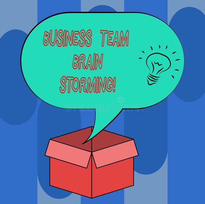 Handwriting text Business Team Brain Storming. Concept meaning Team work corporate group working meeting Idea icon. Inside Blank Halftone Speech Bubble Over an royalty free illustration