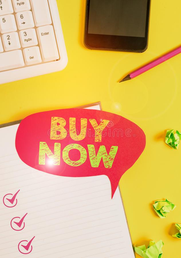Handwriting text Buy Now. Concept meaning asking someone to purchase your product Provide good Discount Empty red bubble. Handwriting text Buy Now. Conceptual royalty free stock photography