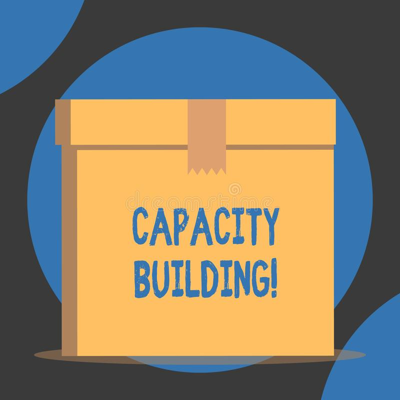 Handwriting text Capacity Building. Concept meaning Strengthen the abilities of individuals Workforce planning Close up. Handwriting text Capacity Building royalty free illustration