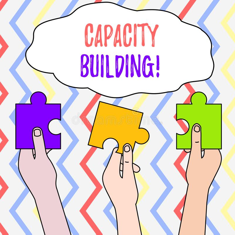 Handwriting text Capacity Building. Concept meaning Strengthen the abilities of individuals Workforce planning Three. Handwriting text Capacity Building vector illustration