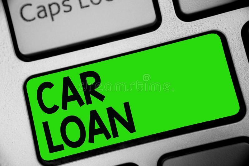 Handwriting text Car Loan. Concept meaning taking money from bank with big interest to buy new vehicle Keyboard green key Intentio stock photos