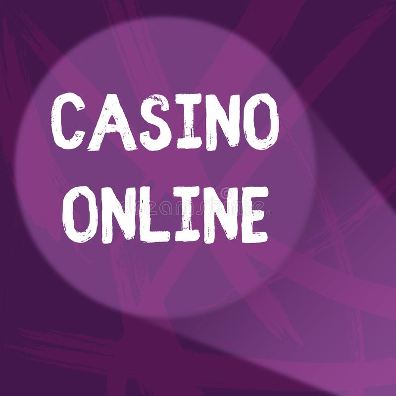 Handwriting text Casino Online. Concept meaning Computer Poker Game Gamble Royal Bet Lotto High Stakes Abstract Violet. Handwriting text Casino Online vector illustration