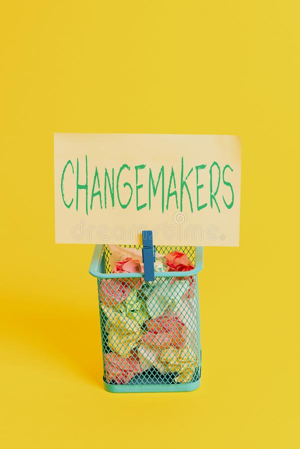 Handwriting text Changemakers. Concept meaning Young Turk Influencers Acitivists Urbanization Fashion Gen X Trash bin. Handwriting text Changemakers. Conceptual royalty free stock images