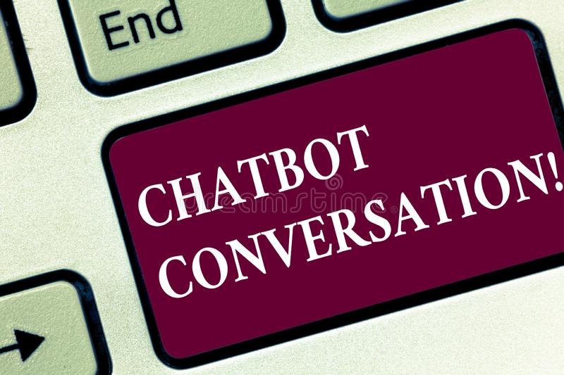 Handwriting text Chatbot Conversation. Concept meaning Chatting with virtual assistant artificial intelligence Keyboard. Key Intention to create computer stock photos