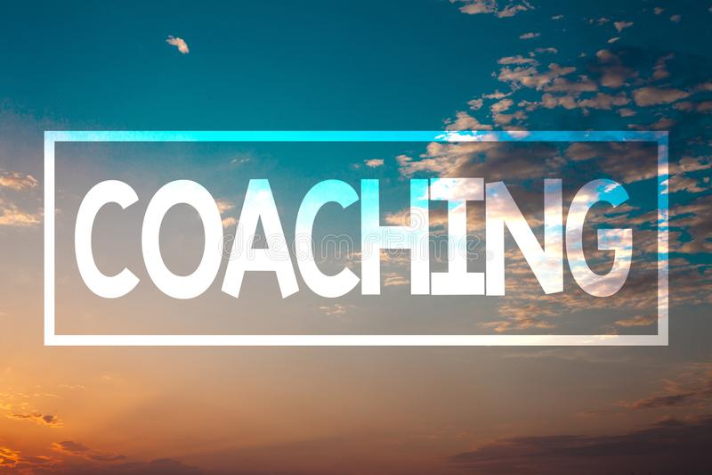 Handwriting text Coaching. Concept meaning Prepare Enlightened Cultivate Sharpening Encourage Strenghten Sunset blue beach orange. Cloudy clouds sky ideas royalty free stock photos