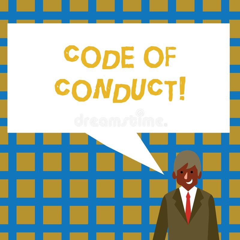 Handwriting text Code Of Conduct. Concept meaning Follow principles and standards for business integrity Businessman. Handwriting text Code Of Conduct royalty free illustration