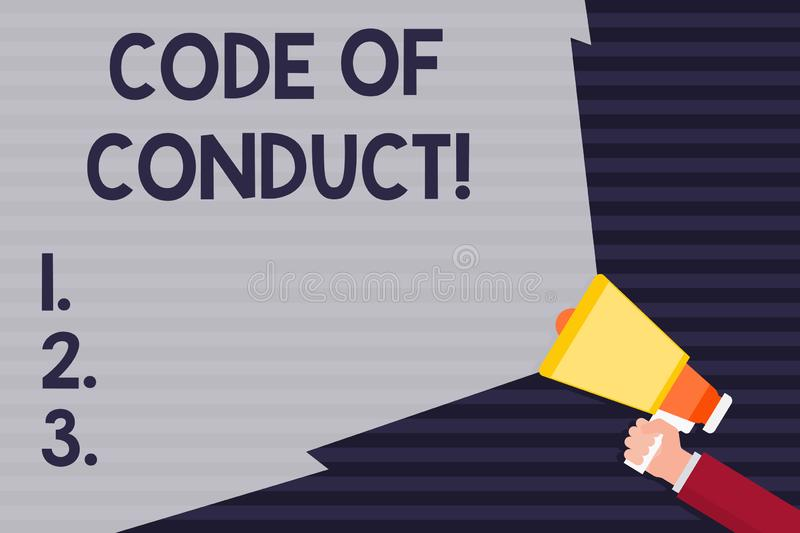 Handwriting text Code Of Conduct. Concept meaning Follow principles and standards for business integrity Hand Holding. Handwriting text Code Of Conduct vector illustration