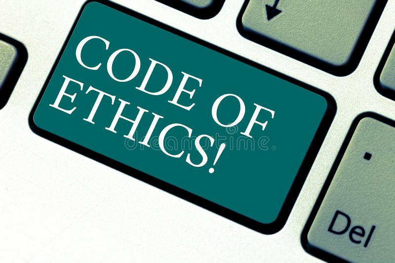 Handwriting text Code Of Ethics. Concept meaning Moral Rules Ethical Integrity Honesty Good procedure Keyboard key. Intention to create computer message royalty free stock photo