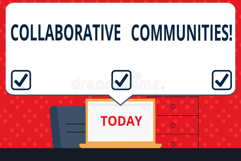 Handwriting text Collaborative Communities. Concept meaning showing and organizations work achieve results Blank Huge. Handwriting text Collaborative Communities vector illustration