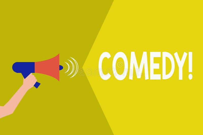 Handwriting text Comedy. Concept meaning Professional entertainment Jokes Sketches Make audience laugh Humour.  royalty free illustration