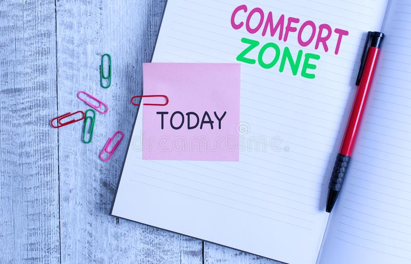 Handwriting text Comfort Zone. Concept meaning A situation where one feels safe or at ease have Control Thick pages. Handwriting text Comfort Zone. Conceptual stock images