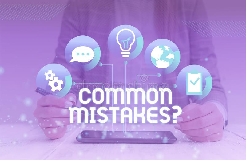 Handwriting text Common Mistakes Question. Concept meaning repeat act or judgement misguided making something wrong. Handwriting text Common Mistakes Question royalty free stock image