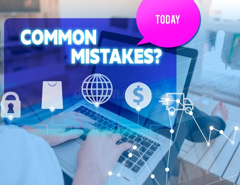 Handwriting text Common Mistakes Question. Concept meaning repeat act or judgement misguided making something wrong. Handwriting text Common Mistakes Question royalty free stock images
