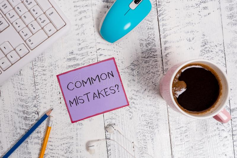 Handwriting text Common Mistakes question. Concept meaning repeat act or judgement misguided or wrong. Handwriting text Common Mistakes question. Conceptual royalty free stock images