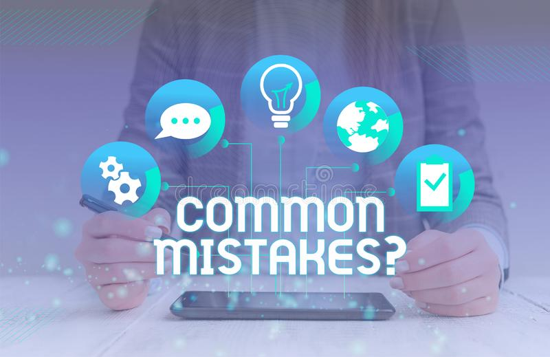 Handwriting text Common Mistakes Question. Concept meaning repeat act or judgement misguided making something wrong. Handwriting text Common Mistakes Question royalty free stock photos