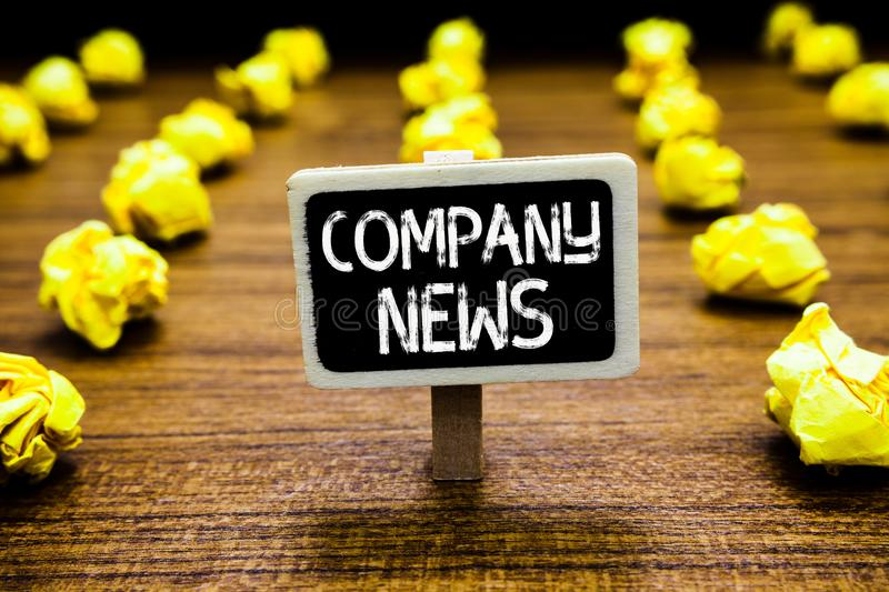 Handwriting text Company News. Concept meaning Latest Information and happening on a business Corporate Report Blackboard crumpled. Papers several tries mistake royalty free stock photography