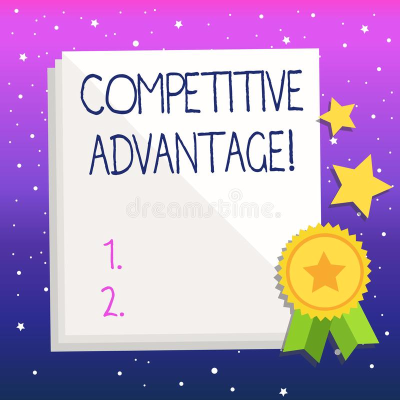 Handwriting text Competitive Advantage. Concept meaning owning quality that will assure you leading in field. Handwriting text Competitive Advantage. Conceptual royalty free illustration