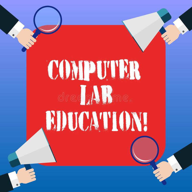 Handwriting text Computer Lab Education. Concept meaning Room or space equipped with computers use in a school Hu analysis Hands royalty free illustration