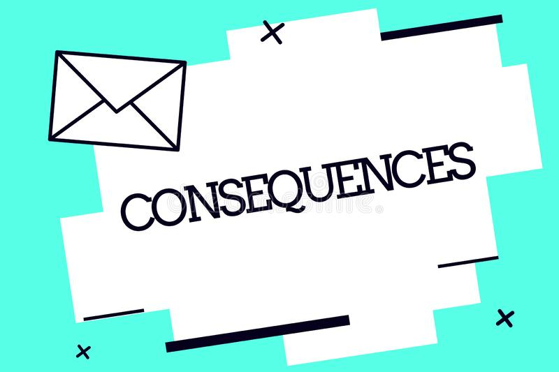 Handwriting text Consequences. Concept meaning Effect result or outcome of something occurring earlier.  royalty free illustration